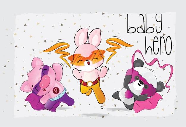 Cute animals super hero character