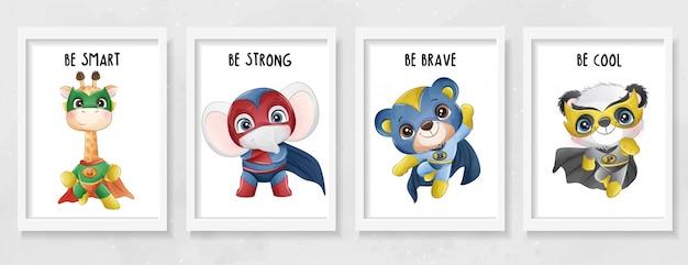 Симпатичные животные супергерой с акварельной иллюстрацией