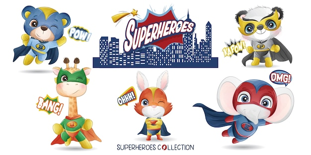 Cute animals superhero with watercolor illustration