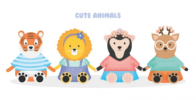 Cute animals tiger lion sloth bear and deer with clothes