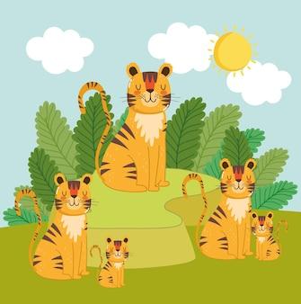 Милые животные тигры семья джунгли