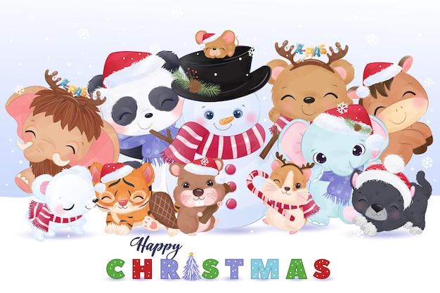 Cute animals together christmas illustration
