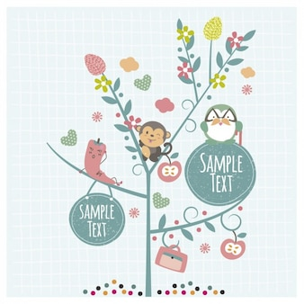 Cute animals on the tree with labels