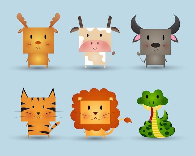 Cute animals vector illustration.