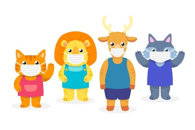 Милые животные в масках для лица