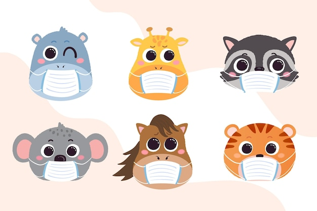Cute animals wearing face masks