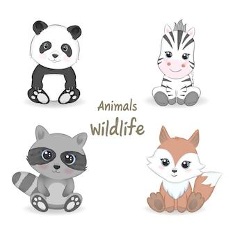 귀여운 동물 야생 동물 세트 동물 수채화