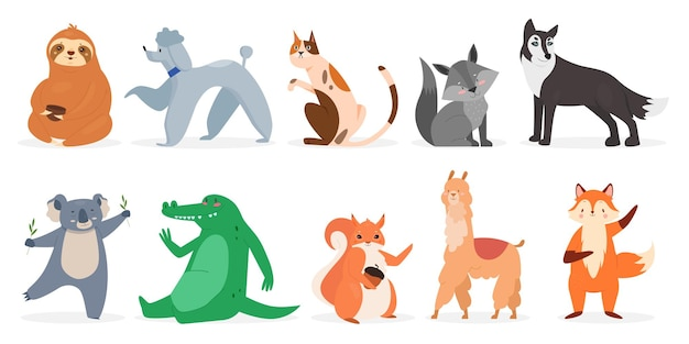 Cute animals wildlife set wild funny animal and domestic pet characters collection