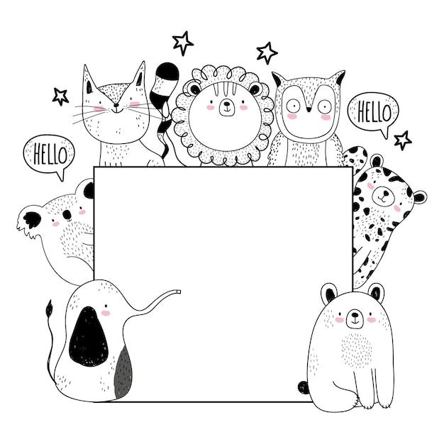 귀여운 동물 야생 동물 스케치 배너