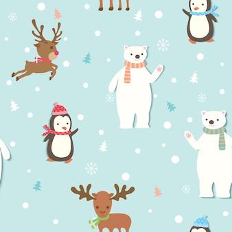 かわいい動物の冬シームレスパターン