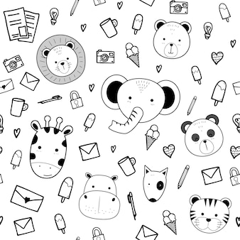 Cute animals with doodle stuff cartoon seamless pattern