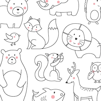 Cute animals with line style/cartoon vector collection