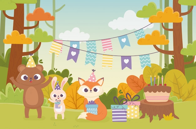Cute animals with party hats gift cake bunting celebration forest happy day illustration