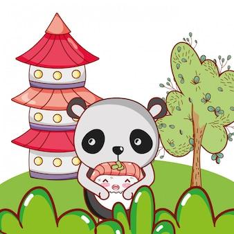 Cute animals with sushi kawaii
