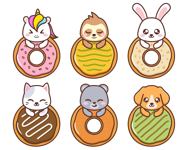 さまざまなドーナツを持つかわいい動物