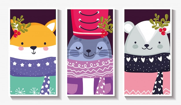 Cute animals with warm sweater and holly berry merry christmas cards