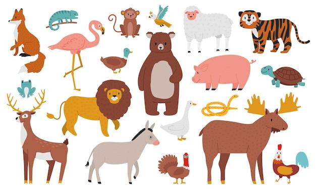 귀여운 동물. 나무, 농장 및 정글 동물, 여우, 사자, 곰, 엘크, 사슴, 호랑이 및 배.