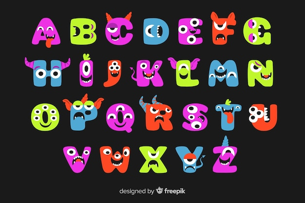 Cute animated halloween monster alphabet on black background