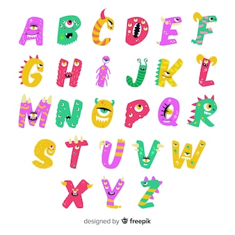Cute animated halloween monster alphabet on white background
