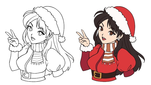 Cute anime asian girl wearing christmas santa costume and hat contour picture for coloring book