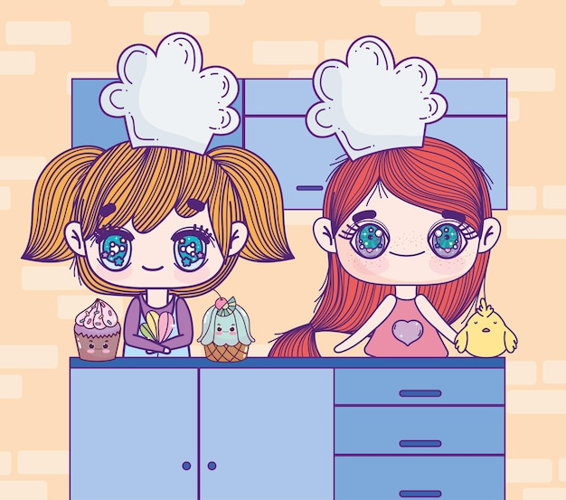 귀여운 애니메이션 요리사 소녀