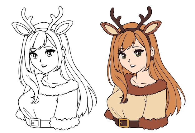 Cute anime girl wearing christmas deer costume contour picture for coloring book