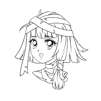 Cute anime mummy girl portrait. 90s retro anime.