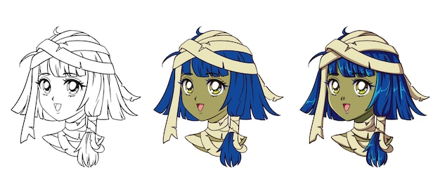 Cute anime mummy girl portrait. three versions: contour, flat colors, cell shading.