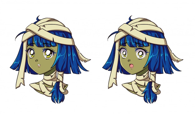 Cute anime mummy girl portrait. two different expressions. 90s retro anime style hand drawn vector illustration. isolated.