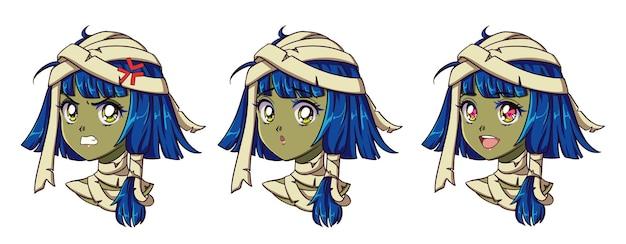 귀여운 애니메이션 미라 소녀 초상화. 두 가지 다른 표현. 90 년대 복고풍 애니메이션 스타일 손으로 그려.