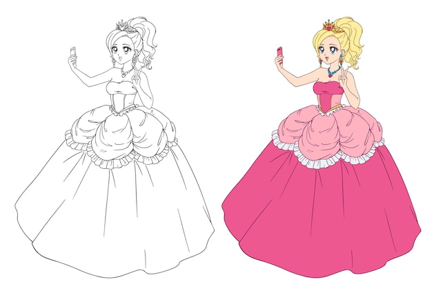 Cute anime princess taking selfie. blondie girl wearing pink royal dress and golden crown.