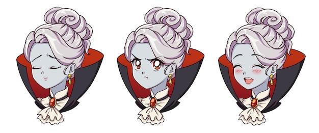かわいいアニメの吸血鬼の女の子の肖像画。 2つの異なる表現。