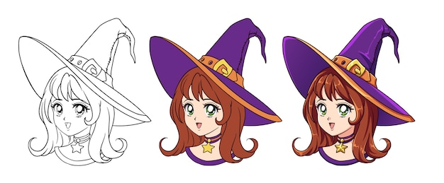 Cute anime witch girl portrait. three versions: contour, flat colors, cell shading. retro anime style hand drawn  illustration. isolated on white background.