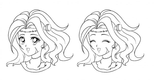 かわいいアニメのゾンビ少女の肖像画。 3つのバージョン:輪郭、単色、セルシェーディング、レトロなアニメスタイルの手描きイラスト。白い背景で隔離されました。