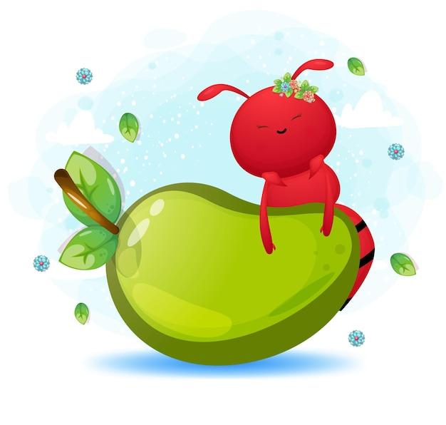 大きなマンゴーの漫画のキャラクターの後ろにかわいいアリ