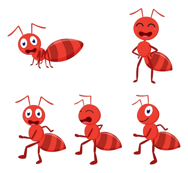 Cute ant cartoon cartoon collection set