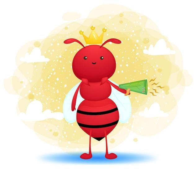 Cute ant holding a megaphone cartoon character