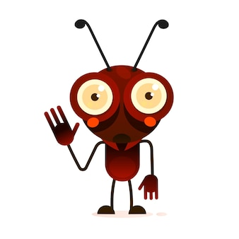 귀여운 개미는 두 발에 서서 손을 흔듭니다. 벡터 일러스트 레이 션