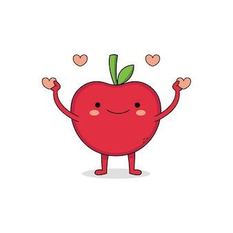 愛を広めるかわいいリンゴの漫画のキャラクター