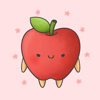 Cute apple cartoon hand drawn style