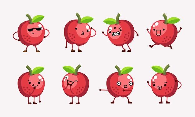 異なるポーズと表情のかわいいリンゴのキャラクターのマスコットイラスト
