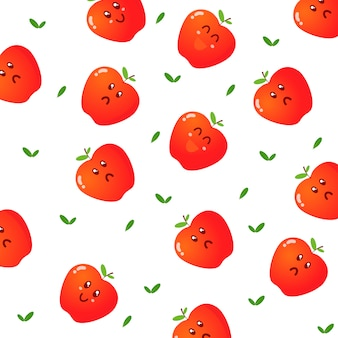Cute apple character pattern vector