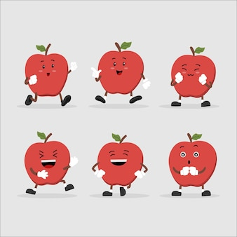 Cute apple character set in multiple expression Premium Vector