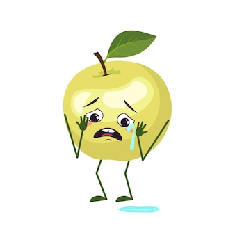 Cute apple characters with crying and tears emotions, face, arms and legs. the funny or sad hero, green fruit. vector flat illustration