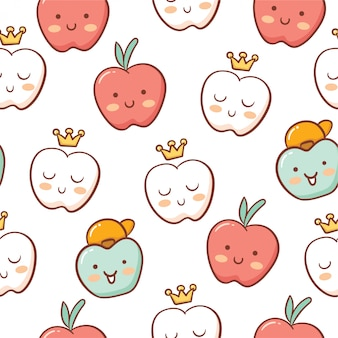 Cute apple doodle style seamless pattern
