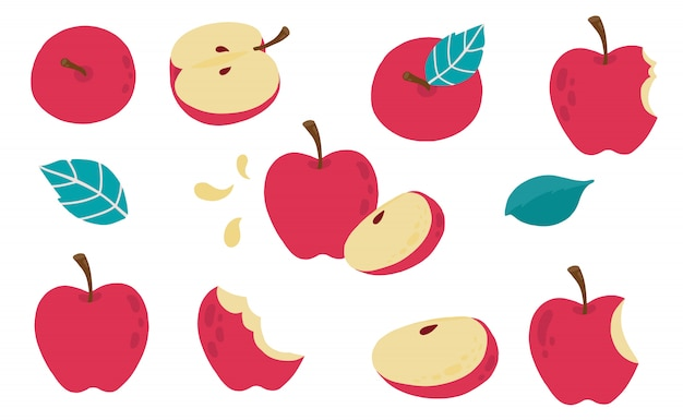 Cute apple object collection