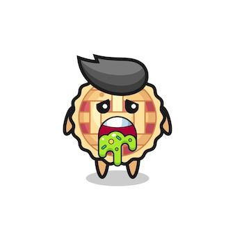 The cute apple pie character with puke , cute style design for t shirt, sticker, logo element