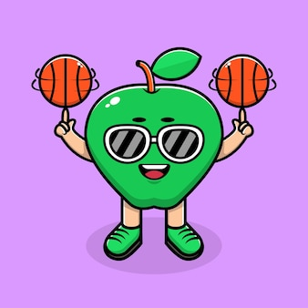 Cute apple play basketball cartoon illustration