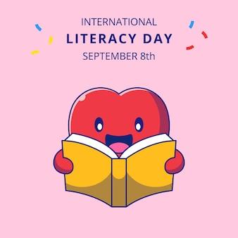 책 만화 그림을 읽고 귀여운 사과입니다. 교육 마스코트 만화 캐릭터.