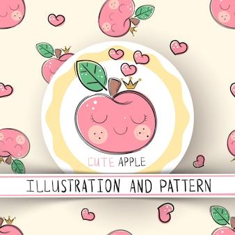 Cute apple - seamless texture pattern